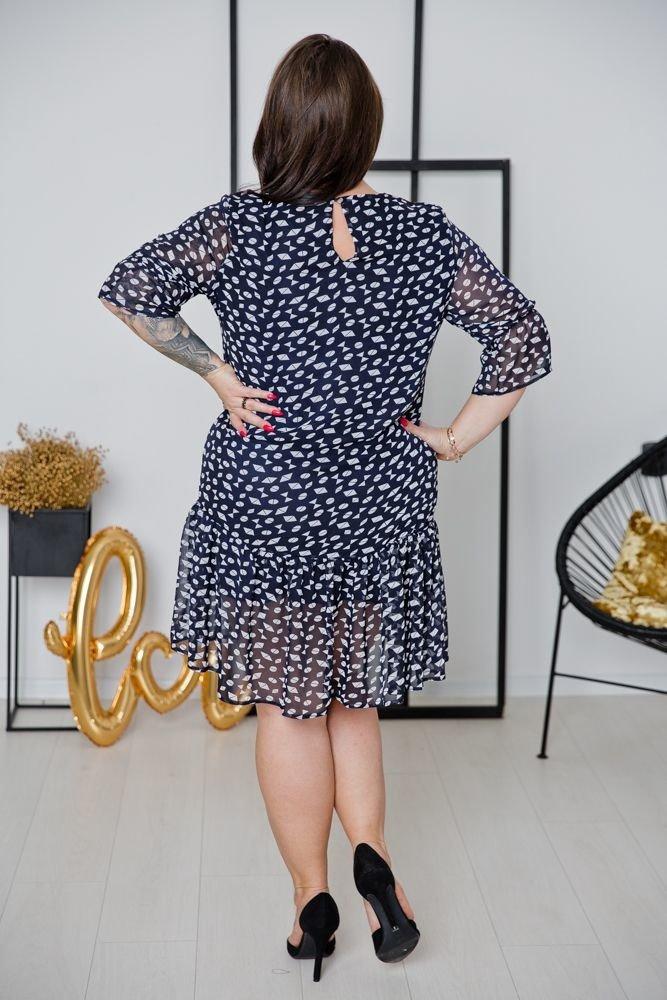 Granatowa Sukienka ESTI Plus Size Wzór 1