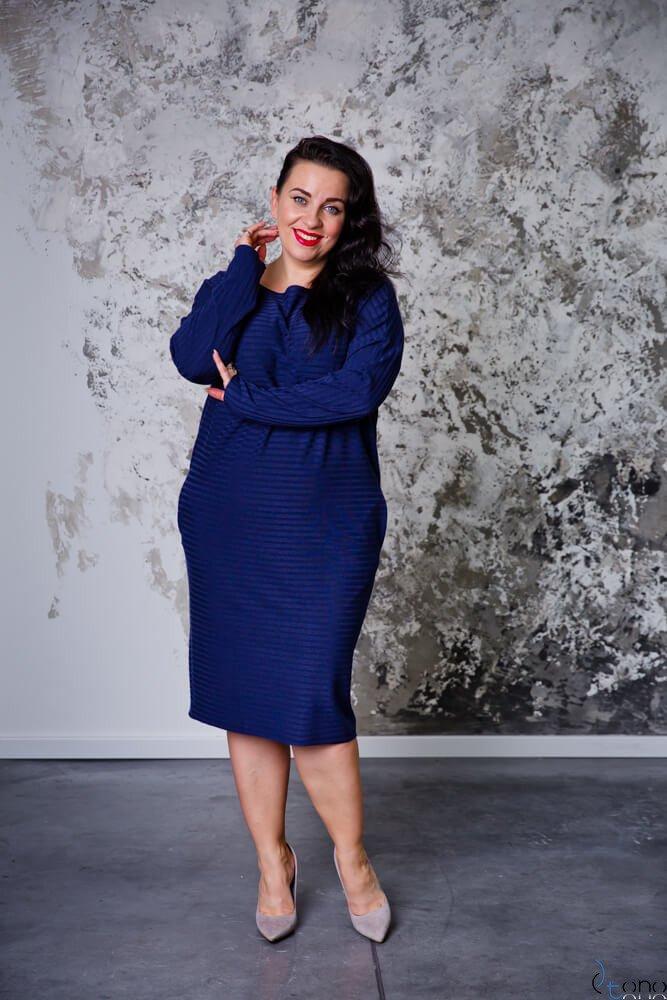 Granatowa Sukienka MAGNETO Plus Size