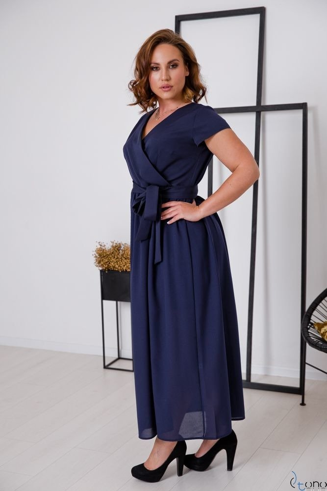 Granatowa Sukienka MALIKKA Plus Size