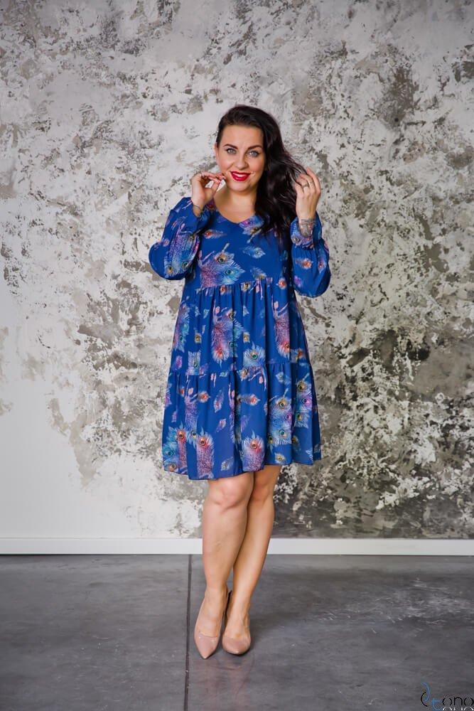 Granatowa Sukienka MERYLYN Falbany Plus Size