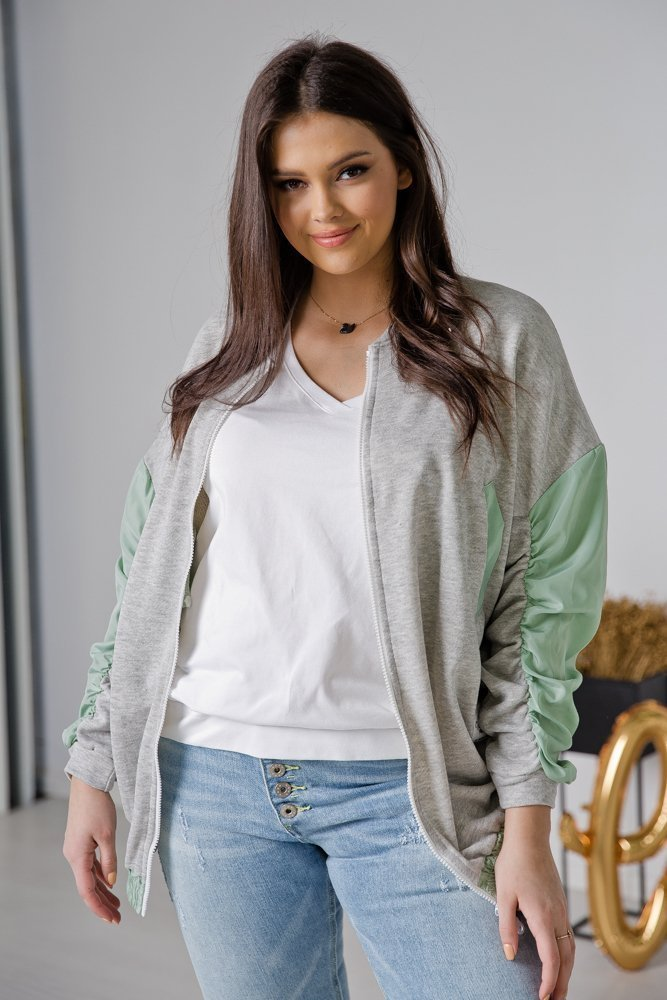 Miętowa Bluza SPORTY Plus Size