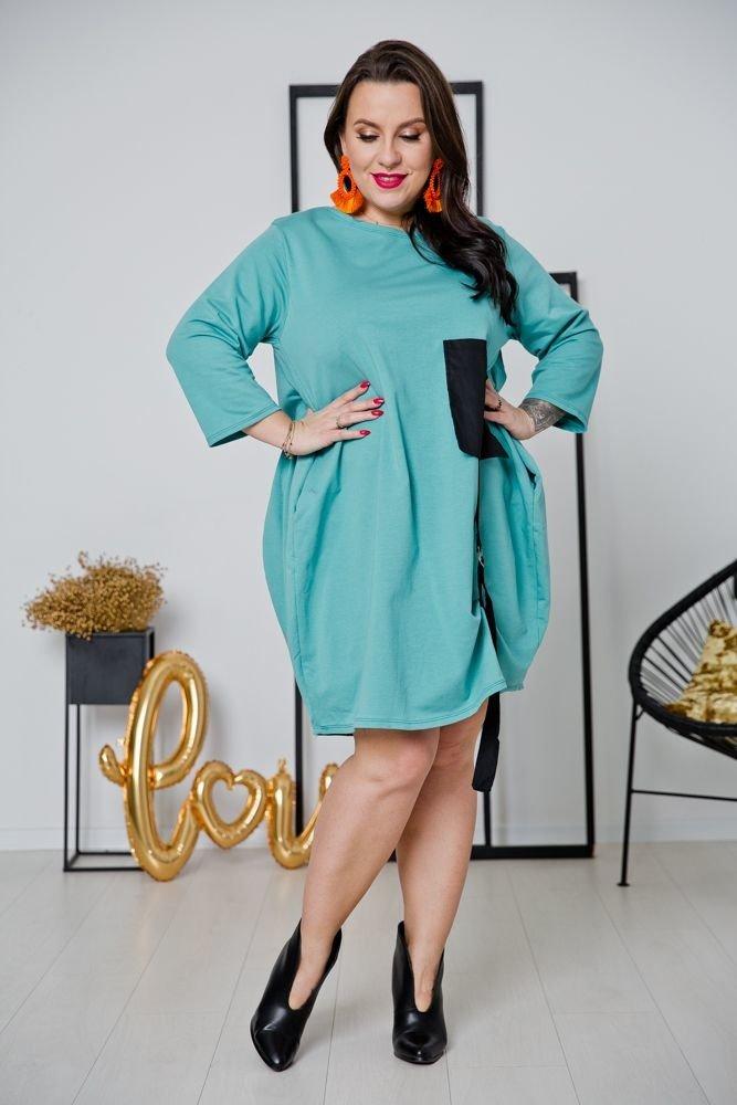 Miętowa Sukienka CALAMA Plus Size