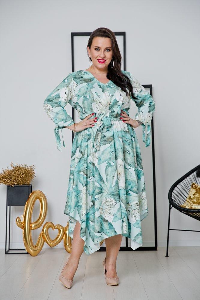 Miętowa Sukienka OFELIA Plus Size Wzór 2