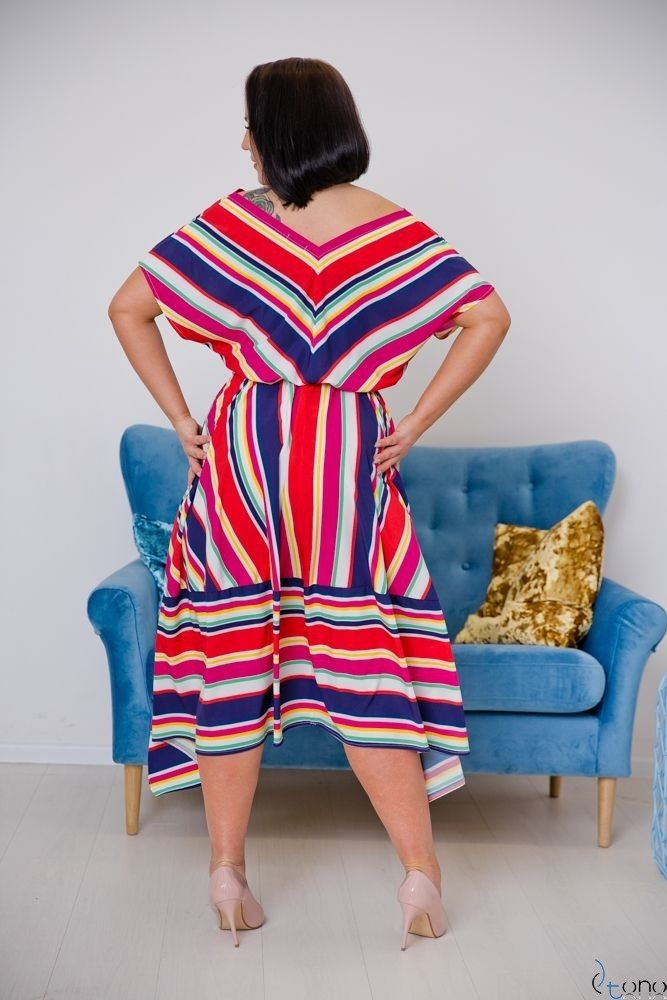 Multikolorowa Sukienka PALLIO Plus Size