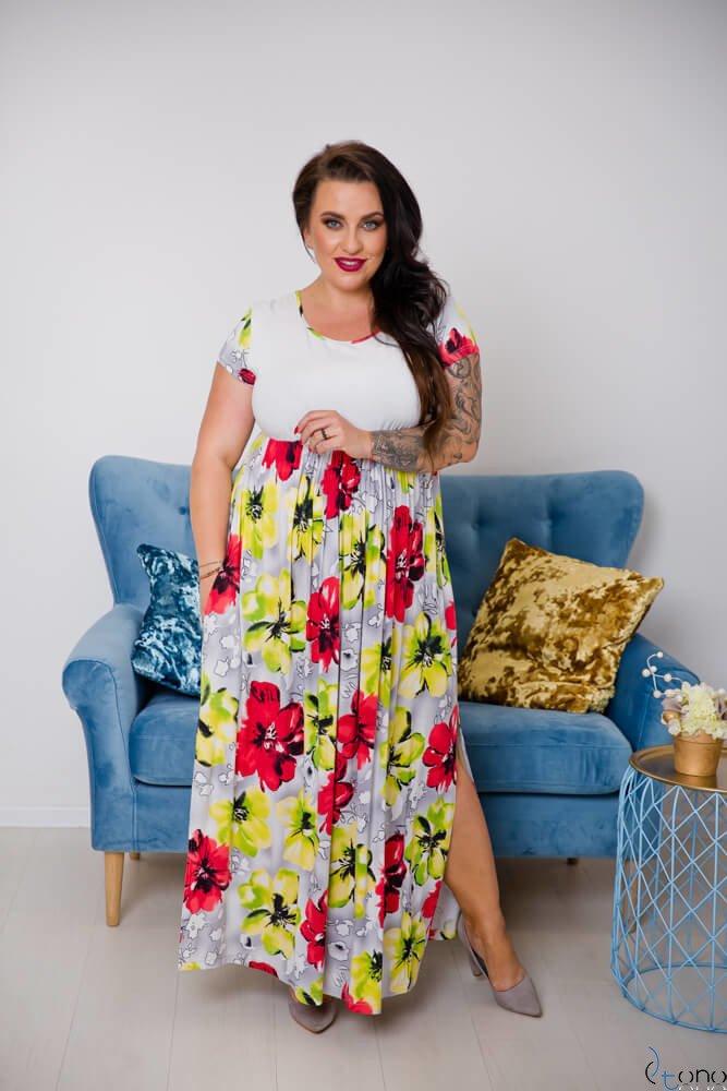 Multikolorowa Sukienka PRESTINA Plus Size