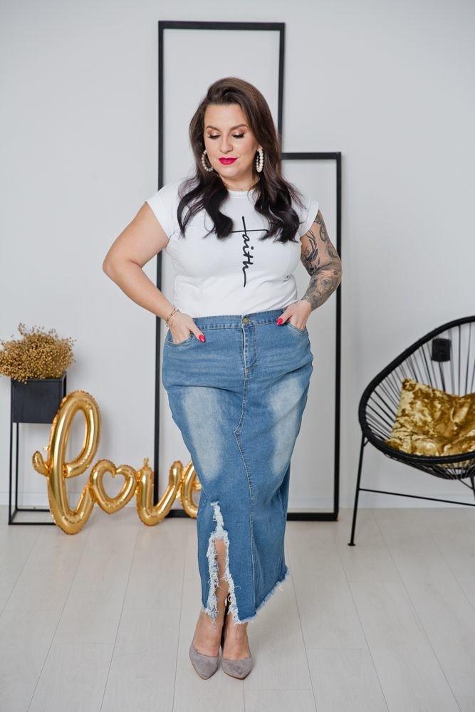 Niebieska Jeansowa Spódnica FRAY Plus Size