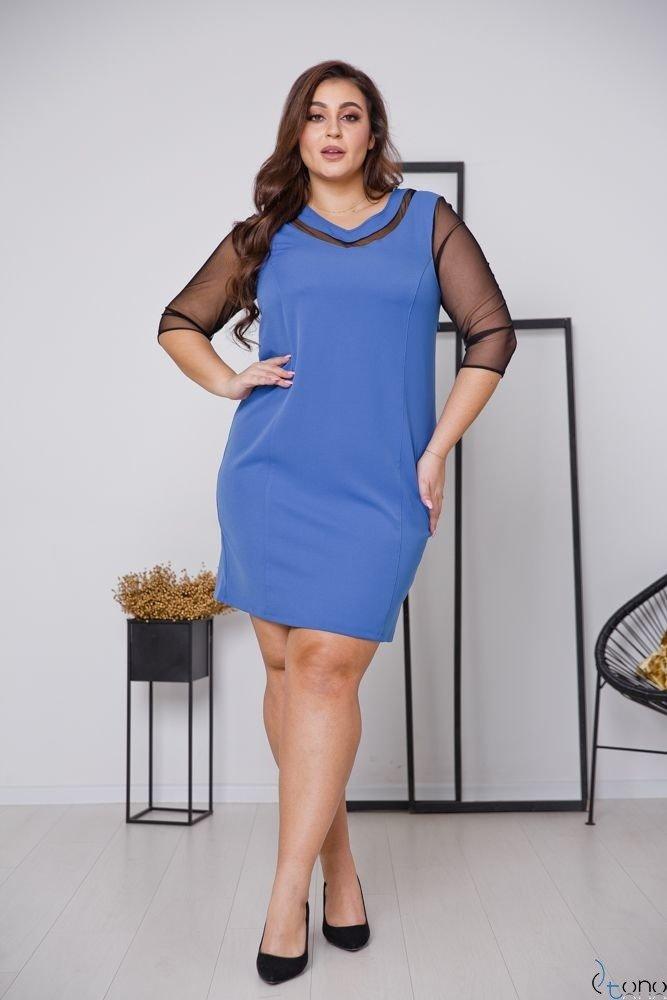 Niebieska Sukienka AUGURA Plus Size