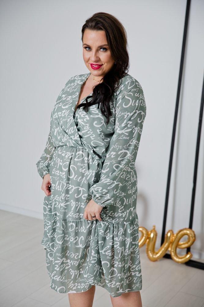 Oliwkowa Sukienka AMPIA Plus Size