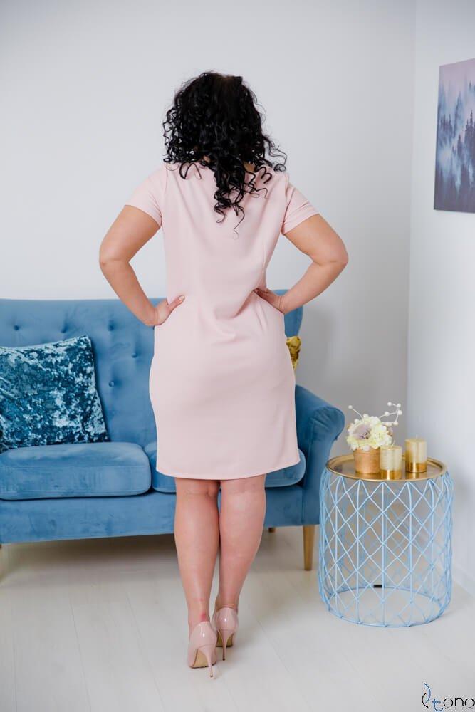 Pudrowo-różowa Sukienka CARISMA Plus Size