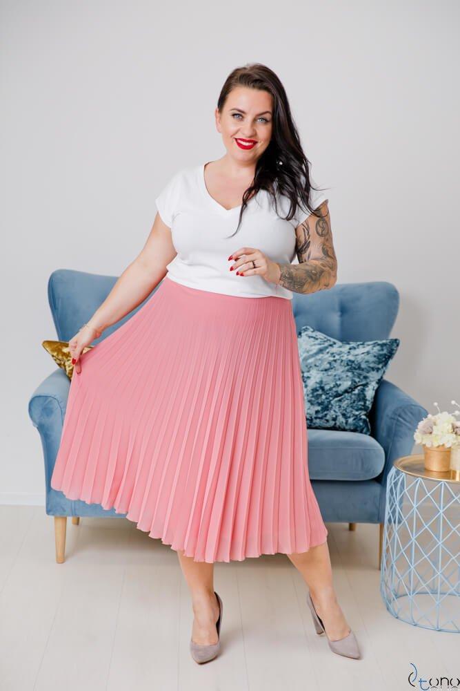 Różowa Spódnica VOLTER Plus Size Plisowana