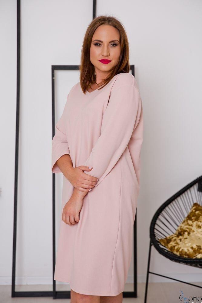 Różowa Sukienka HIERRA Plus Size