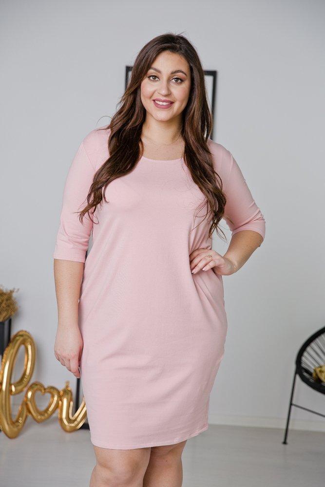 Różowa Sukienka MISTRA Plus Size