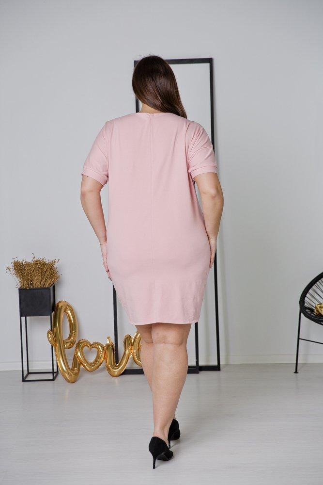 Różowa Sukienka NEMA Plus Size