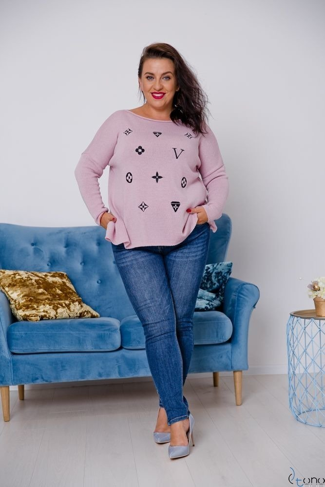 Różowy Sweter TYVEN Plus Size