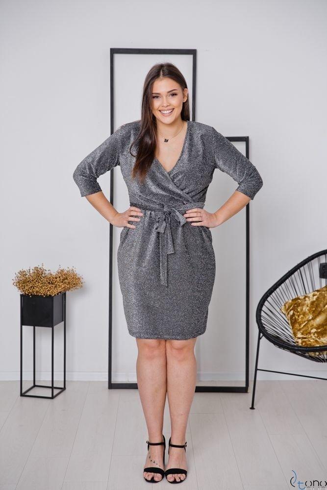 Srebrna Sukienka RESSA Plus Size