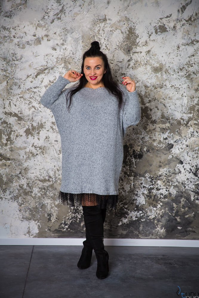 Szara Sukienka ANDER  Plus Size