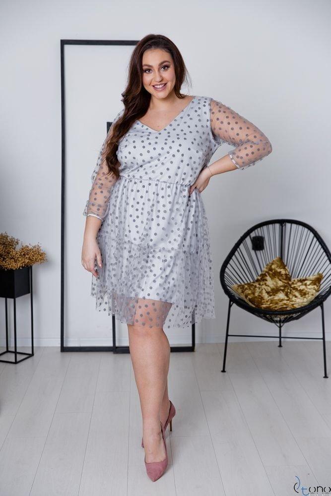 Szara Sukienka MATTIA Plus Size
