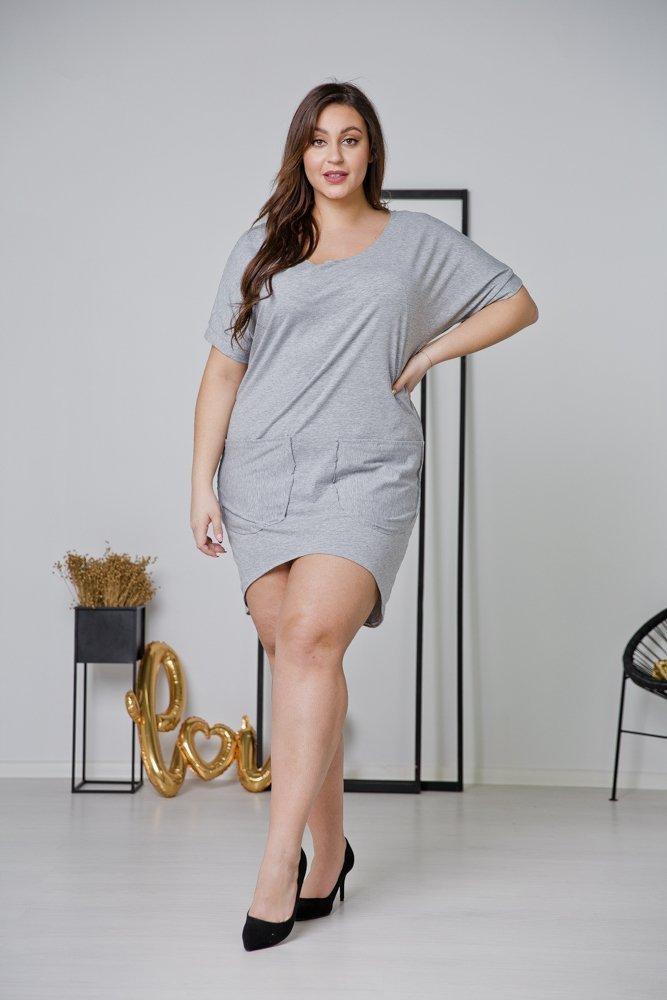 Szara Sukienka NEMA Plus Size
