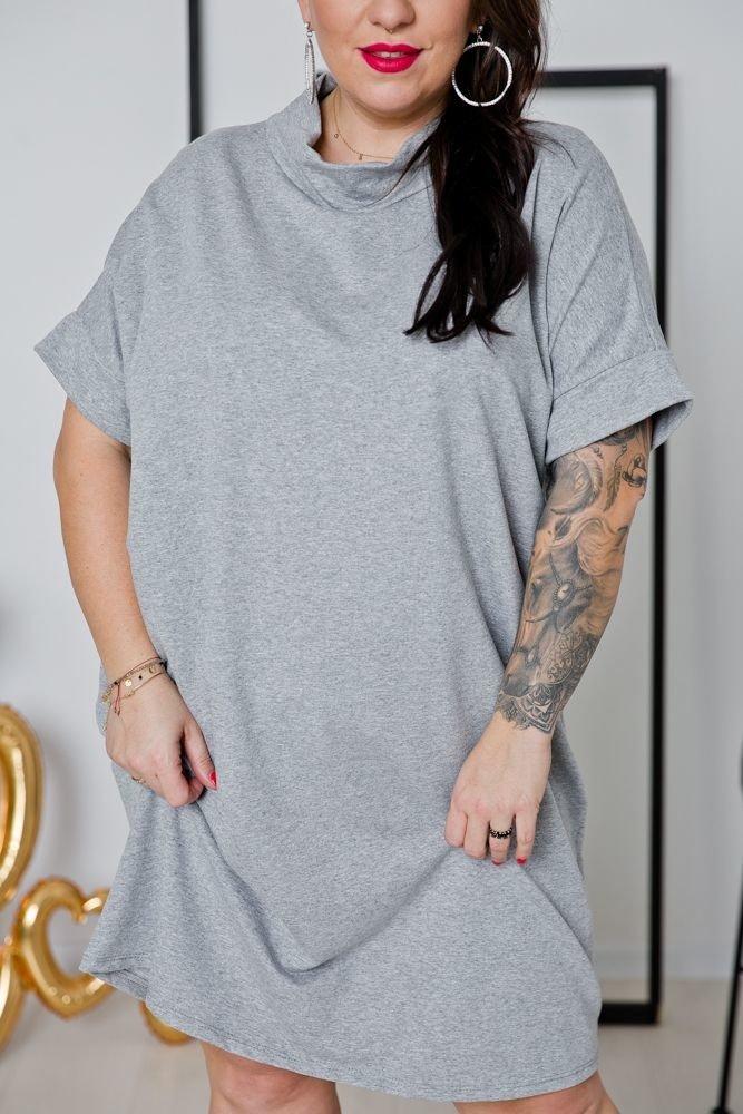 Szara Sukienka ORDINA Plus Size