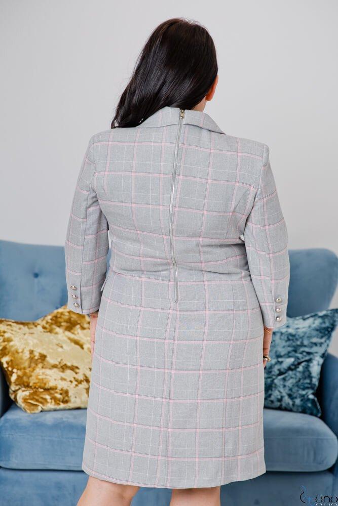 Szaro-różowa Sukienka QUADRA Plus Size