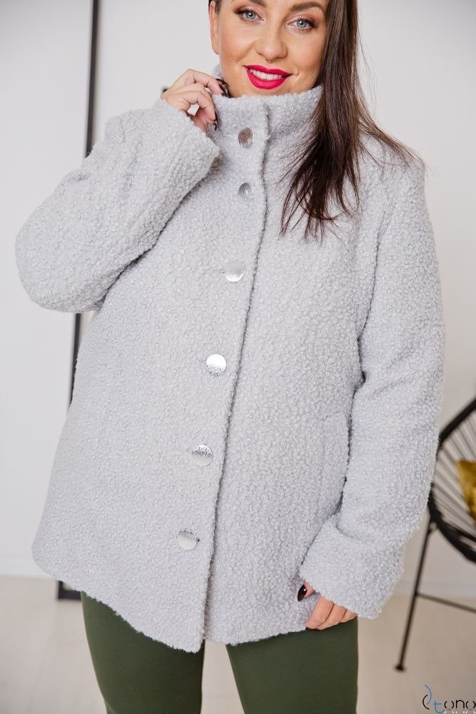 Szary Płaszcz SALEN Plus Size