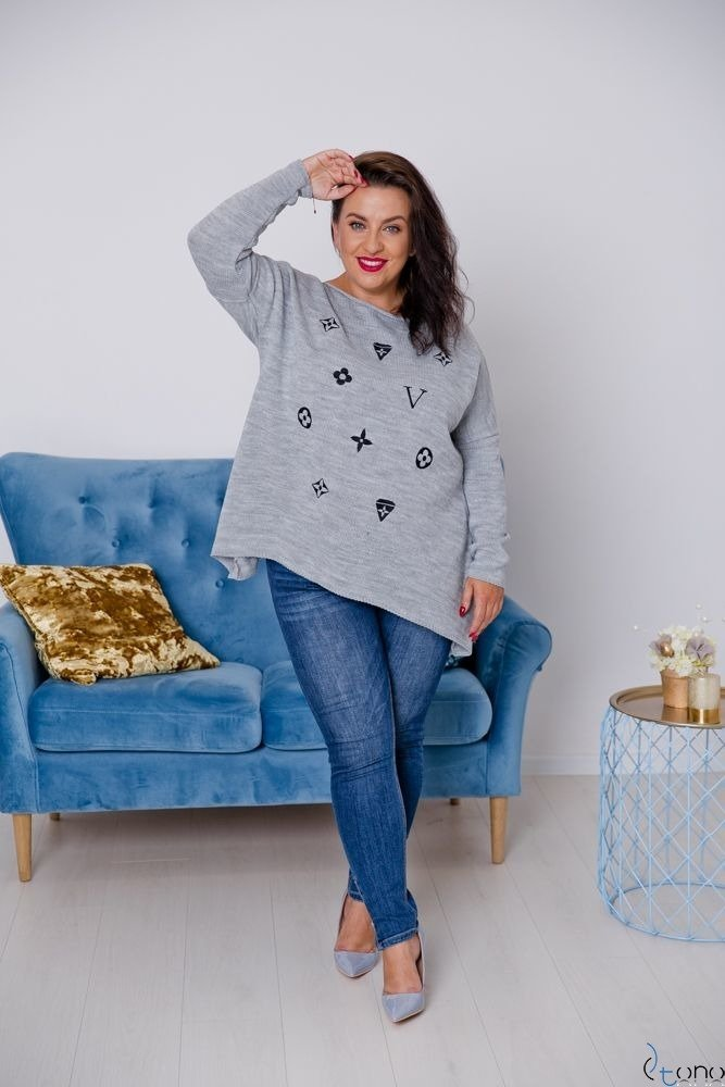 Szary Sweter TYVEN Plus Size