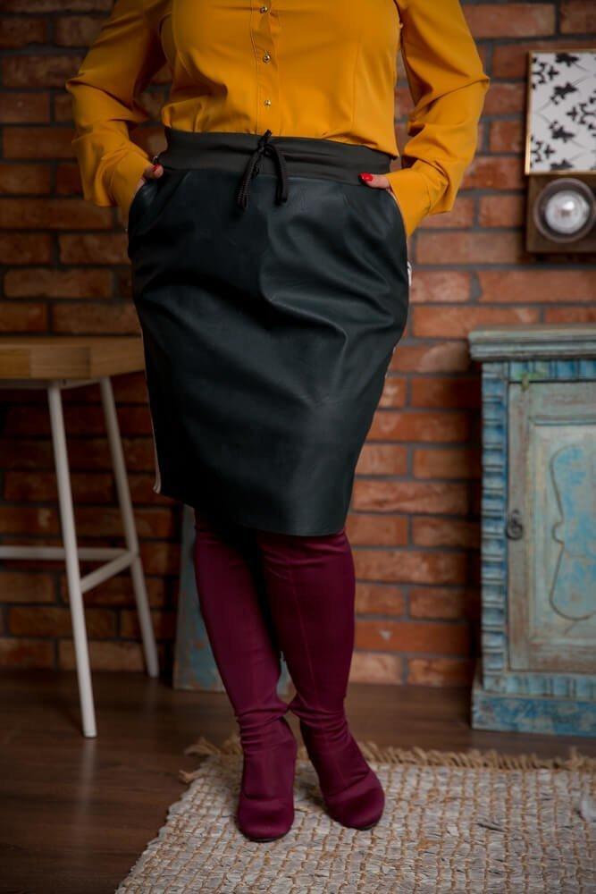 Zielona Spódnica KENDY Lampas Plus Size