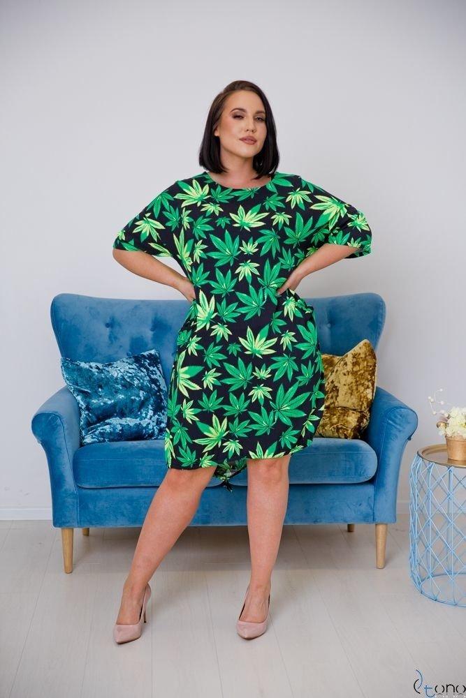 Zielono-czarna Sukienka VERDENIA Plus Size
