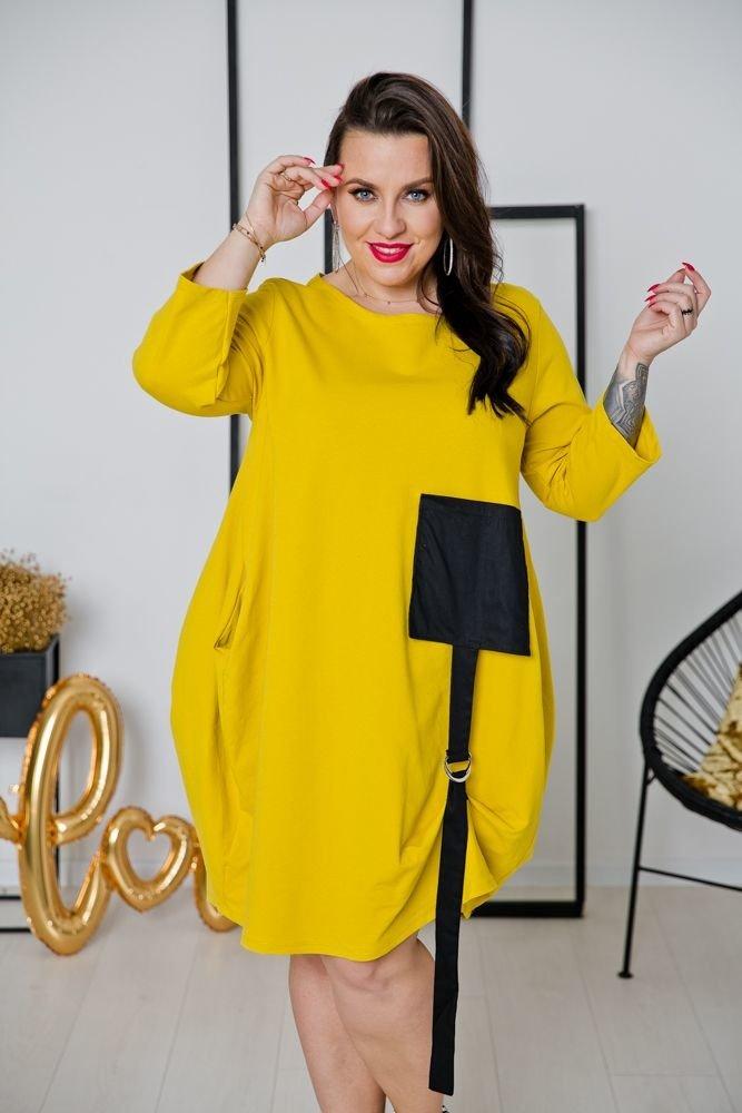 Żółta Sukienka CALAMA Plus Size