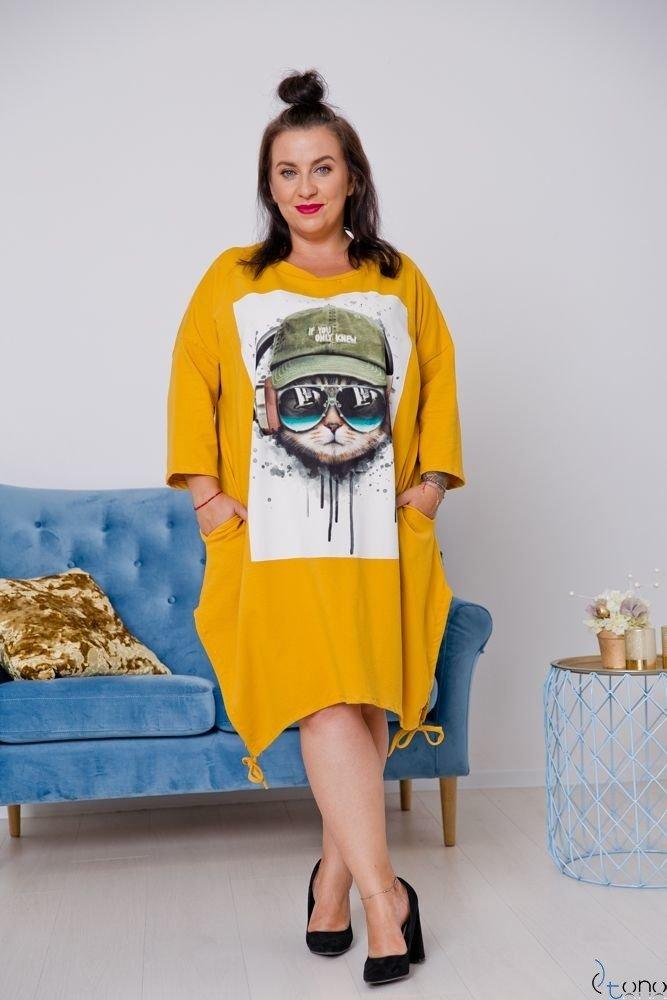 Żółta Tunika IMPRESIA Plus Size