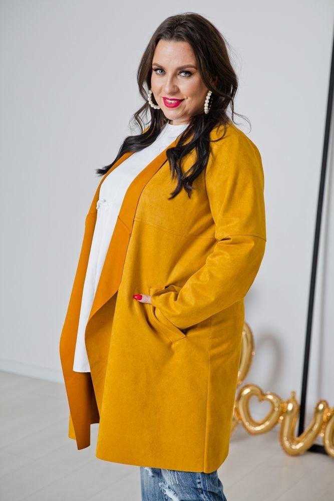 Żółty Kardigan CARMELLO Plus Size