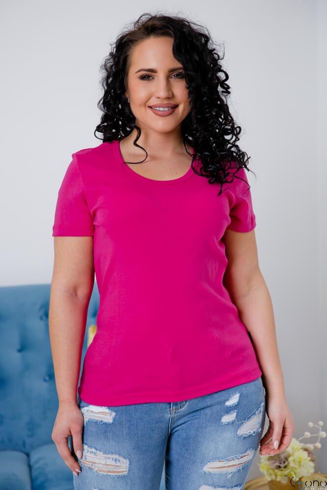 Amarantowa Bluzka damska DETRRA T-Shirt Plus Size