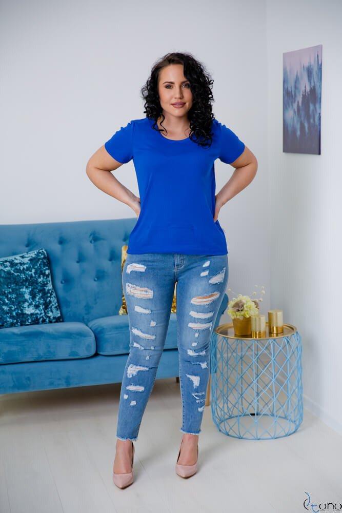Chabrowa Bluzka damska DETRRA T-Shirt Plus Size