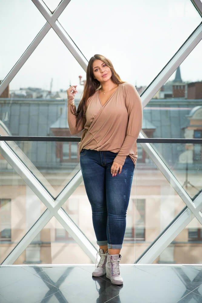 Beżowa Bluzka SENTIA Plus Size