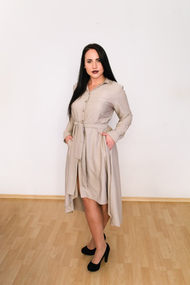 Beżowa Sukienka SHELBY Plus Size