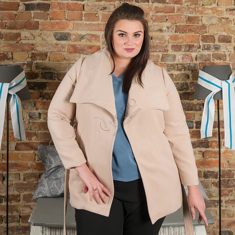Beżowy Płaszcz damski PRIMA Flausz Size Plus