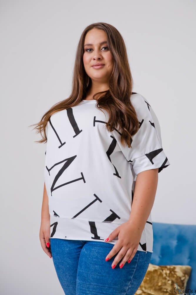 Biała Bluzka VICTIVA Plus Size