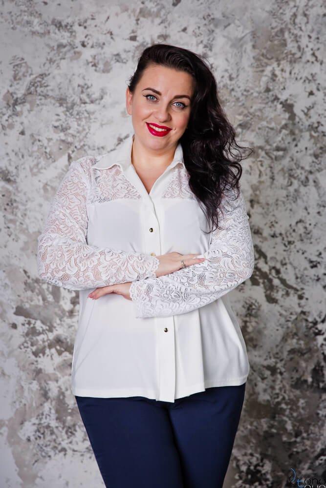 Biała Koszula damska SIFER Plus Size Koronka