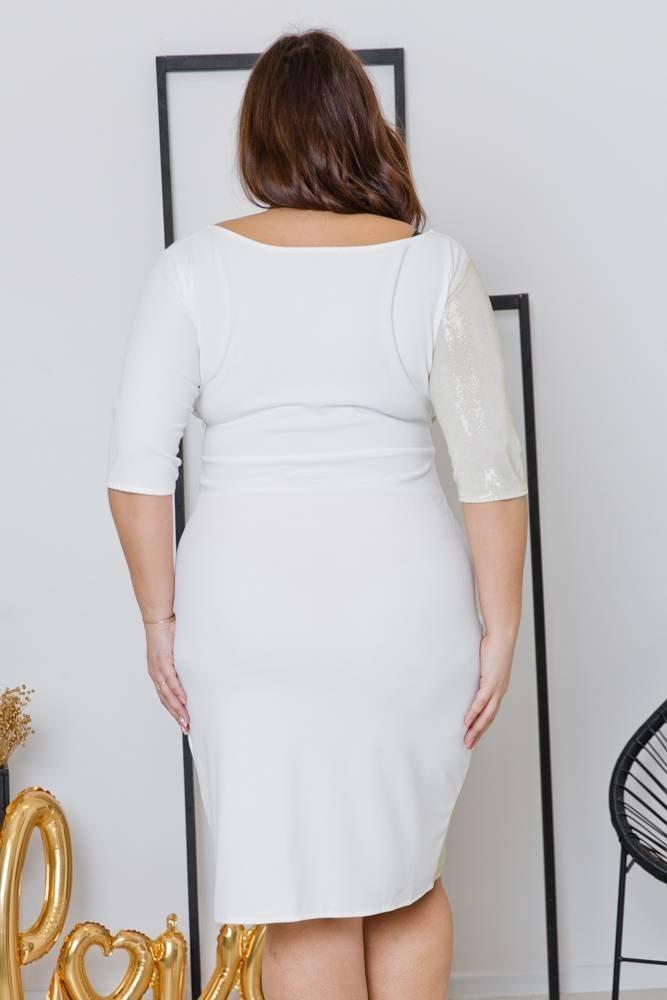Biała Sukienka DRIMA Plus Size