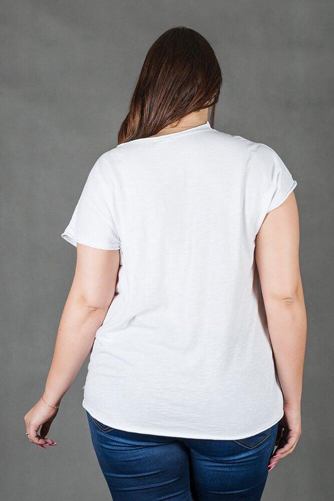 Biała bluzka damska NOVARA T-shirt Plus Size