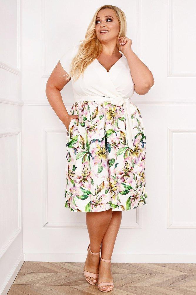 Biało-zielona Sukienka MACARIS Plus Size