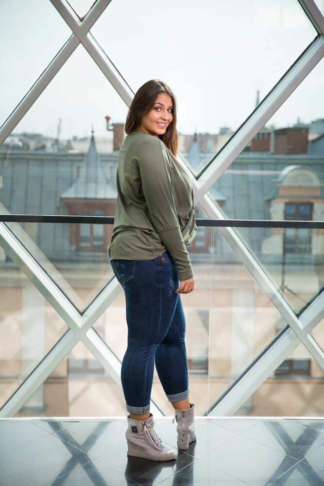 Bluzka SENTIA Khaki Plus Size
