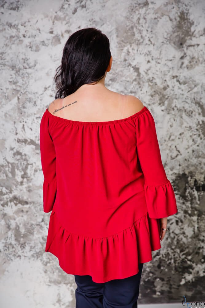 Bordowa Bluzka CARLITA Plus Size