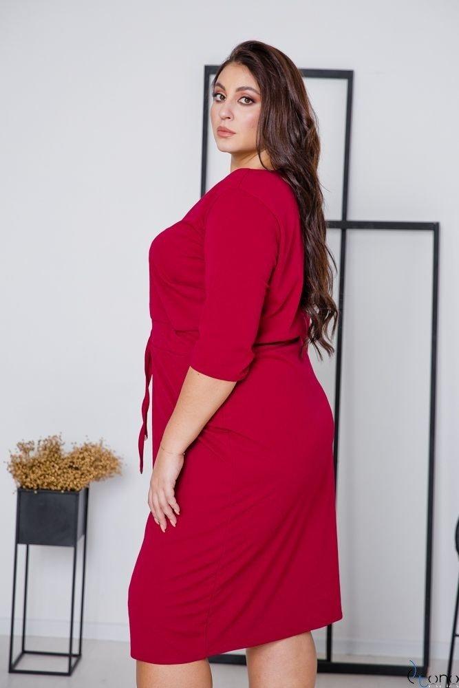 Bordowa Sukienka ELMIRA Plus Size