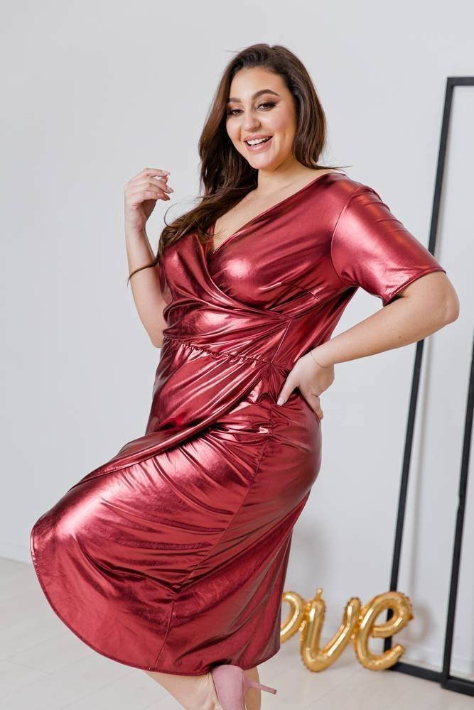 Bordowa Sukienka FLAME Plus Size