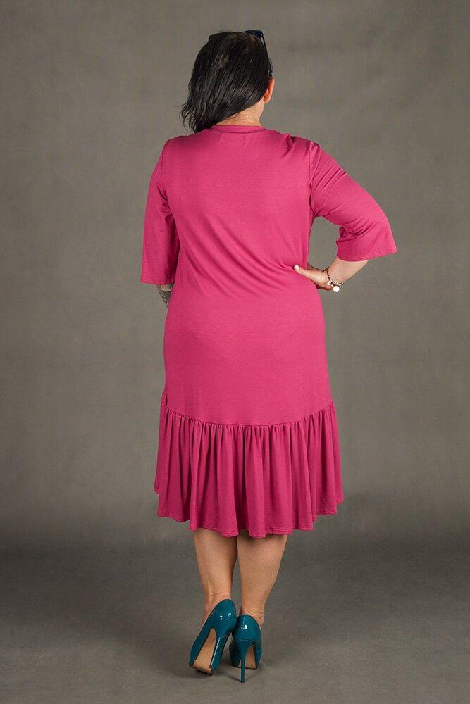 Bordowa Sukienka VOLIA Cekiny Plus Size