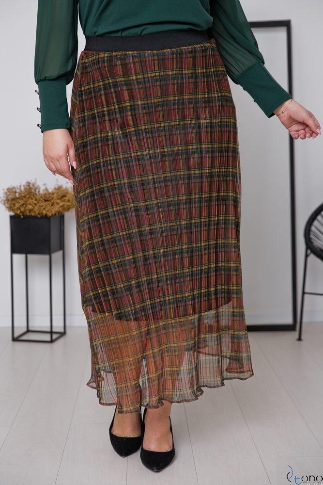 Brązowo-Zielona Spódnica SOLIMA Plus Size
