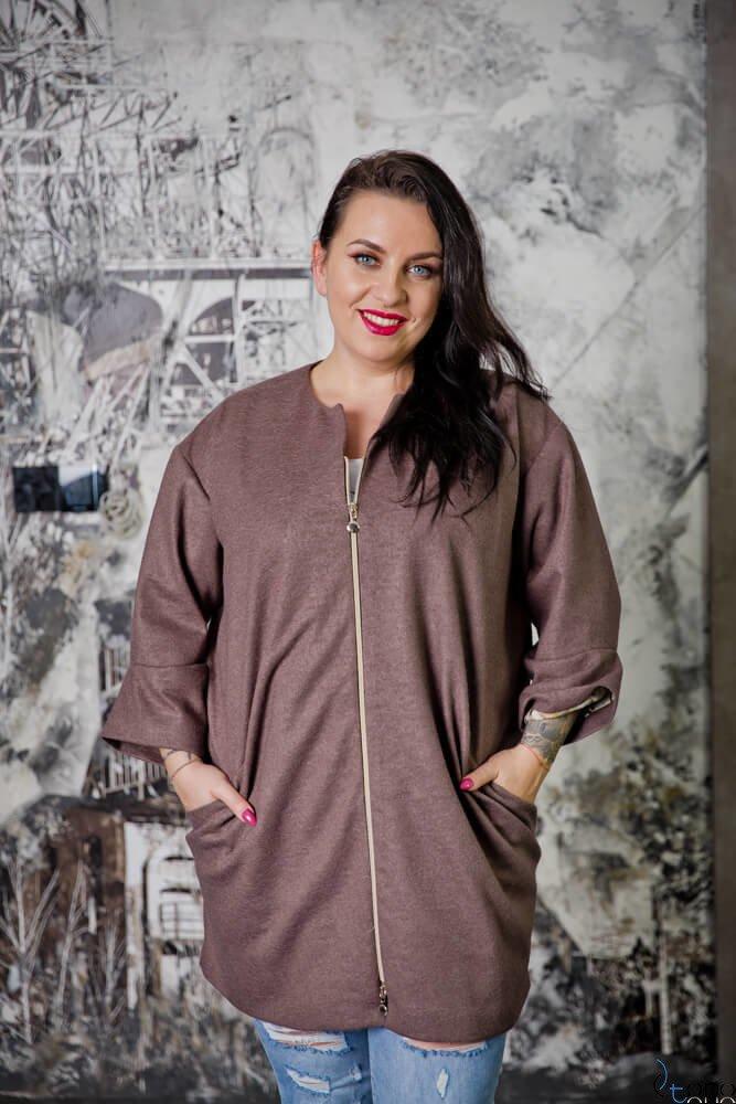 Brązowy Płaszcz LARA Plus Size