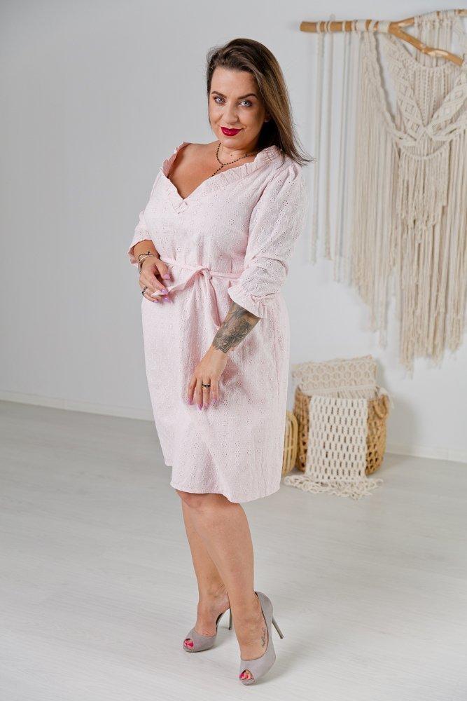 Brzoskwiniowa Sukienka BALBINA Plus Size