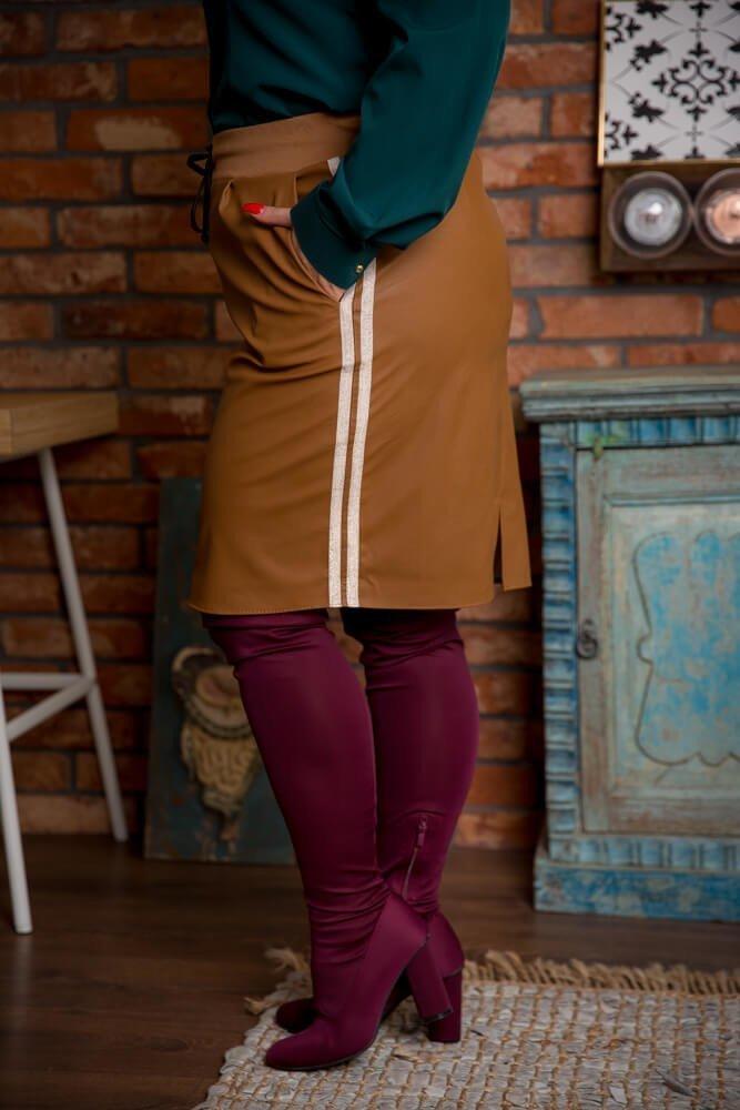 Camelowa Spódnica KENDY Lampas Plus Size